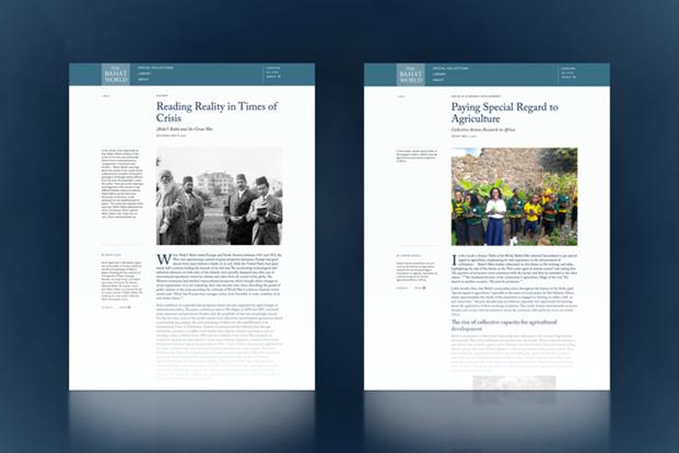 На сайте «Мир бахаи» опубликованы две новые статьи: «Понимание фактов в кризисные времена: Абдул-Баха и Великая война» и «Особое внимание сельскому хозяйству: коллективные действия и накопление опыта в Африке».