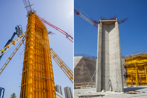 Первая завершённая колонна видна на фото справа. На фото слева видно, как ведутся работы над второй колонной, которая была завершена на прошлой неделе.