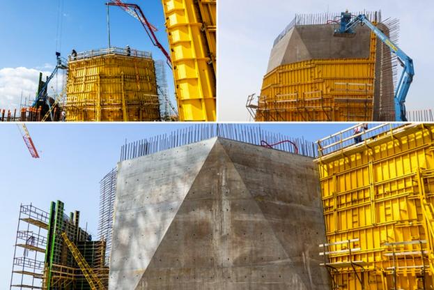 Стальная опалубка, выделенная жёлтым цветом, собирается по месту. Затем в неё заливают бетон и дают ему затвердеть. После схватывания бетона опалубку разбирают и повторно используют для следующего сегмента.