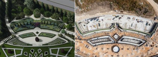 Текущая стадия строительства на северной площади показана на фото справа. Слева — визуализация дизайна.