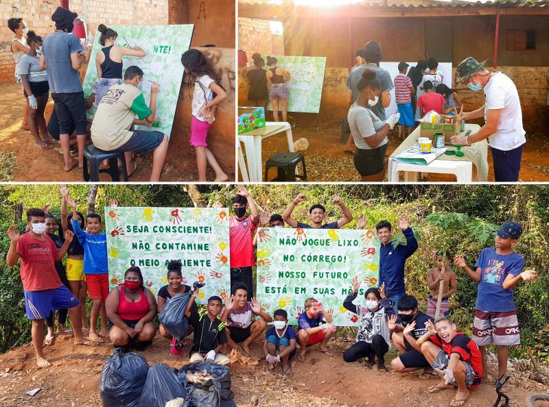 Молодёжь нарисовала знаки и установила их возле реки, призывая людей не засорять территорию мусором.