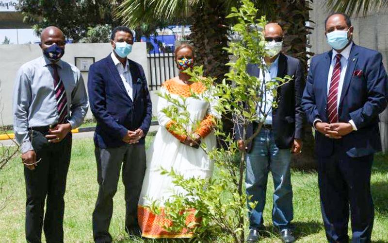 Соломон Белэй из офиса МСБ в Аддис-Абебе (второй слева) с представителями религиозных организаций и организаций гражданского общества на мероприятии, посвящённом Всемирному дню окружающей среды, который отмечался в июне.