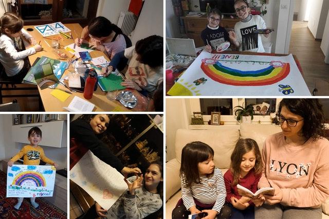 Когда вспышки COVID-19 стали нарушать жизнь в одной стране за другой, общины бахаи нашли творческие средства для продолжения служения окружающим, соблюдая при этом меры безопасности, введённые их правительствами. На эти фотографиях — итальянские семьи, которые молятся и создают послания надежды для своих сограждан.