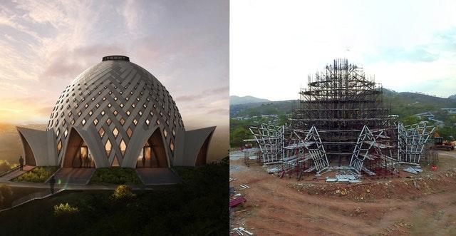 Виртуальный рендеринг дизайна национального Дома Поклонения Бахаи Папуа-Новой Гвинеи (слева) по сравнению с текущим состоянием здания (справа).