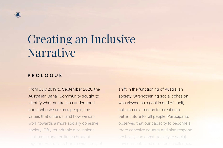 Публикация «Создавая общую картину мира» стала плодом двухлетних бесед среди должностных лиц, ученых, общественных деятелей и простых людей со всей Австралии.