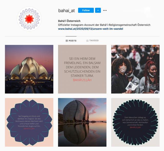 Instagram-аккаунт австрийского Управления бахаи по внешним связям.