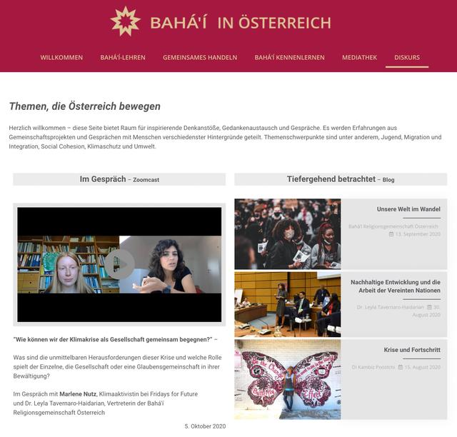 Видеоблог на немецком языке можно найти по адресу https://www.bahai.at/diskurs/.