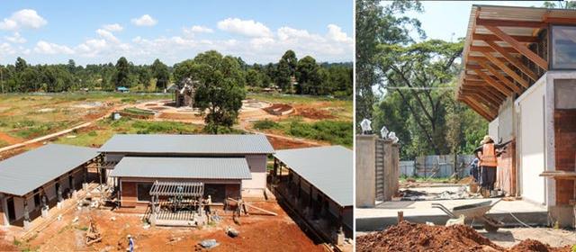 Слева: Центр по приёму посетителей с центральным зданием на заднем плане. Справа: Продолжаются работы над одним из вспомогательных зданий, где посетителям будут предоставляться различные услуги.