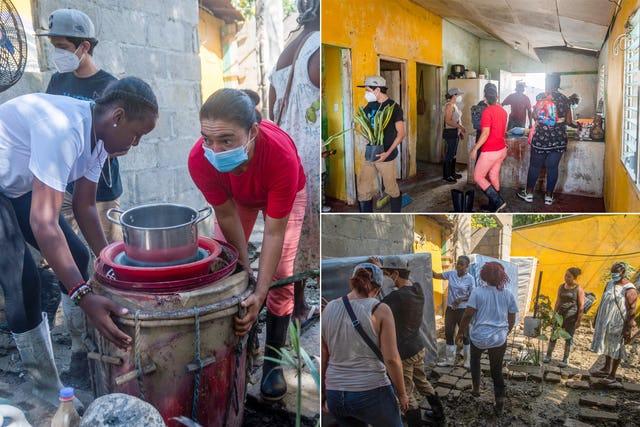Волонтёры, координируемые Комитетом по чрезвычайным ситуациям, привезли и подарили семьям в сильно пострадавшем городе Сан-Педро-Сула, где многие люди лишились своих домов, матрасы и другие бытовые принадлежности.
