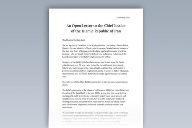 Открытое письмо главному судье Исламской Республики Иран Ибрагиму Раиси, подписанное более чем 50 высокопоставленными канадскими юристами, выражает глубокую озабоченность по поводу «новых и серьёзных нарушений» прав человека в отношении иранской общины бахаи.