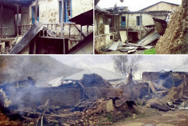 На протяжении многих лет собственность бахаи в Ивеле, Иран, подвергалась нападениям и несправедливо конфисковывалась, что заставило десятки семей бежать с родных мест и привело их к обнищанию. На этих фотографиях показан дом, который был сожжён в 2007 году.