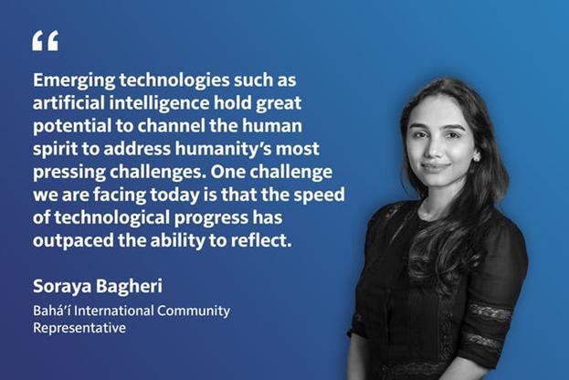 Сорая Багери, представитель МСБ и модератор мероприятия, сказала: «Новые технологии, — такие, как искусственный интеллект, — обладают огромным потенциалом для того, чтобы направить человеческий дух на решение самых насущных проблем человечества».