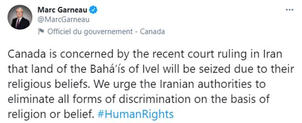 Сообщение, опубликованное в Твиттере министра иностранных дел Канады Марка Гарно.