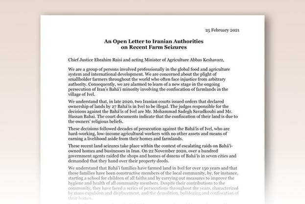 В открытом письме Главному судье Ирана Ибрагиму Раиси и исполняющему обязанности министра сельского хозяйства Аббасу Кешаварц представители сельскохозяйственных организаций из нескольких стран мира, включая Канаду, Эфиопию, Мали и США, заявили, что они «обеспокоены тяжёлым положением малых фермерских хозяйств по всему миру, поскольку они нередко сталкиваются с произволом властей».