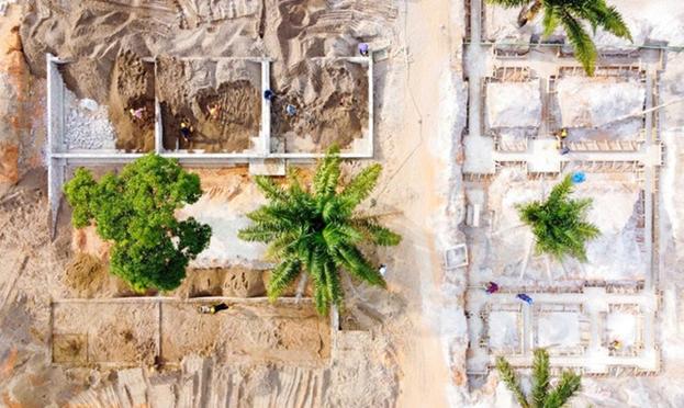 Фундамент для Центра посетителей был построен вокруг деревьев, которые уже присутствуют на этом месте, чтобы сохранить их и украсить внутренний двор.