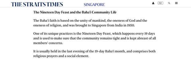 Статья в ведущей сингапурской газете Straits Times отметила новые дополнения к списку нематериального культурного наследия страны, в том числе Праздник Девятнадцатого Дня бахаи.