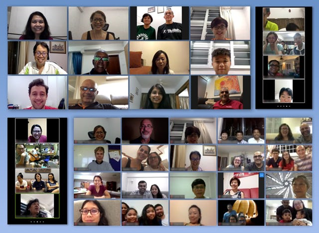 Онлайн-встреча во время недавнего Праздника Девятнадцатого Дня в Сингапуре. Пета Янг, член общины бахаи страны, говорит, что Праздник сыграл важную роль во время пандемии. Эти регулярные встречи — мощное средство против ощущения изолированности».