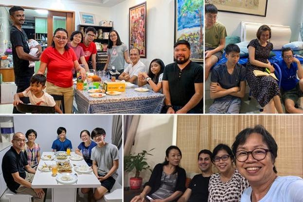 Семьи в Сингапуре отмечают недавний праздник в своих домах, прежде чем присоединиться к другим людям в сети или на небольших собраниях, соблюдая меры безопасности, принятые правительством.