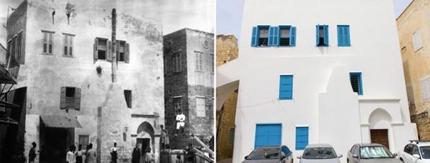 Восточный фасад дома раньше (слева) и сейчас (справа). Это та часть дома, которую сначала занимал Бахаулла и Его семья. Она известна как «Дом Уди Хаммара». Именно здесь вверху слева расположена комната, где Бахаулла явил Китаб-и-Агдас, Наисвятую Книгу Веры бахаи.