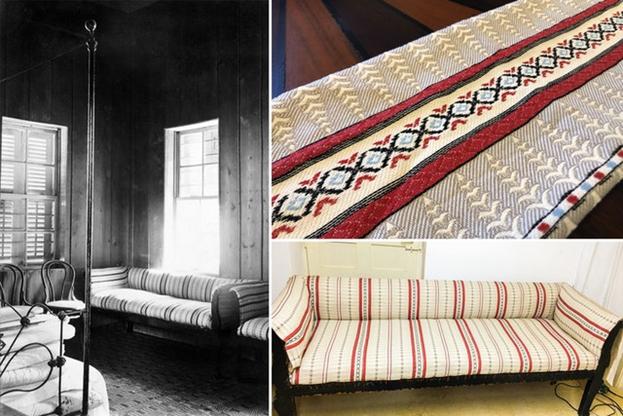 Набор диванов из этого дома был восстановлен в их первоначальном виде. Рисунок обивки был воссоздан по нескольким фотографиям и использован производителем текстиля для имитации ткани.