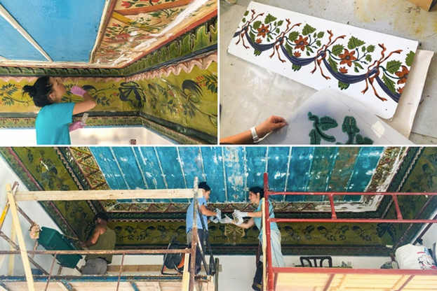 В одной из комнат потолок расписан красивым узором и обрамлён фризом тонкой работы с росписью по цинковым панелям. Реставраторы задокументировали рисунок фриза, отремонтировали панели и отреставрировали картины. Это интереснейшее произведение искусства османской эпохи сейчас предстаёт перед посетителями в своём первоначальном виде.