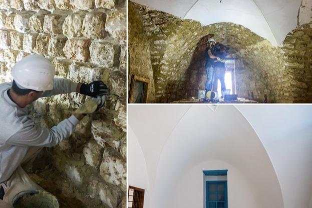 Важным аспектом реставрации Дома Аббуда стало восстановление штукатурки на  примерно 5000 квадратных метров внутренних и внешних стен. Применена известковая штукатурка, рекомендованная специалистами по восстановлению исторических зданий. Новая штукатурка и краска предотвратят скопление влаги внутри стен.