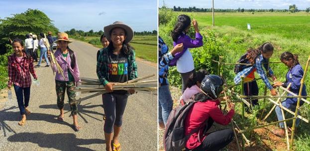 Фотография сделана до нынешнего глобального кризиса в области здравоохранения.  — В 2019 году группа молодых людей из камбоджийской деревни Окчи решила посадить деревья вдоль участка дороги, чтобы улучшить качество воздуха и дать пешеходам возможность укрыться от палящих лучей солнца.