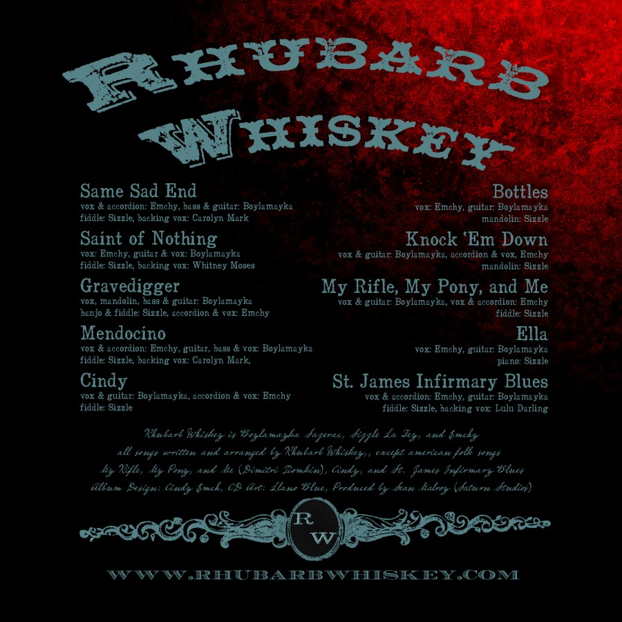 Rhubarb Whiskey - Same Sad End back cover