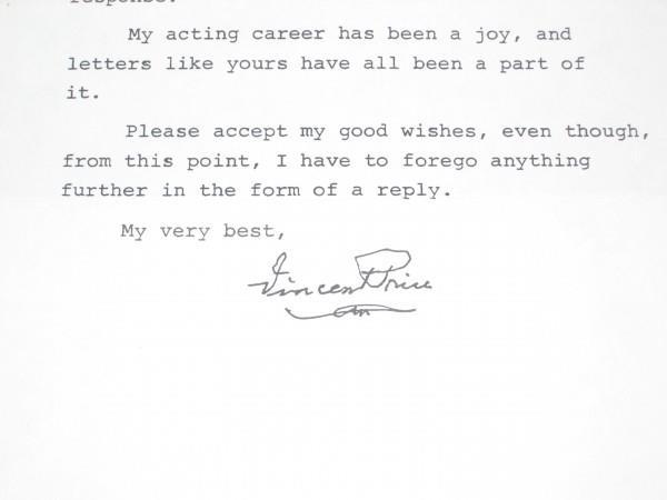 Vincent Price's last autograph