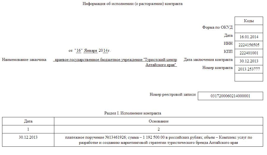 Оплата контракта по разработке бренда Адтайского края