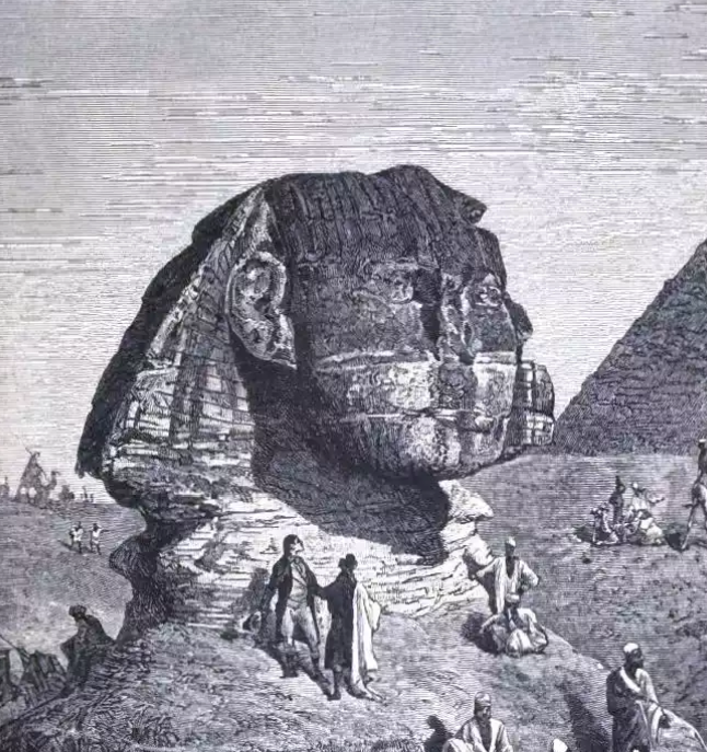 Look at this! Victorian tourists just walking all over the sphinx! It's like when they're home and driving all over stonehenge like it's a roadway!