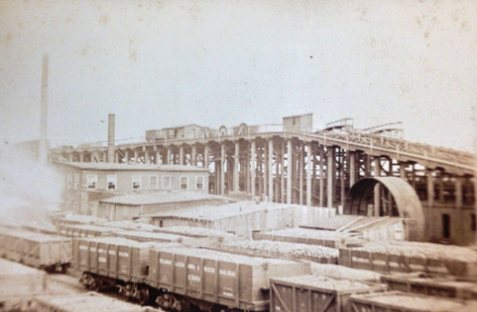 c. 1873 vintage photograph of the construction of a NJ PATH station