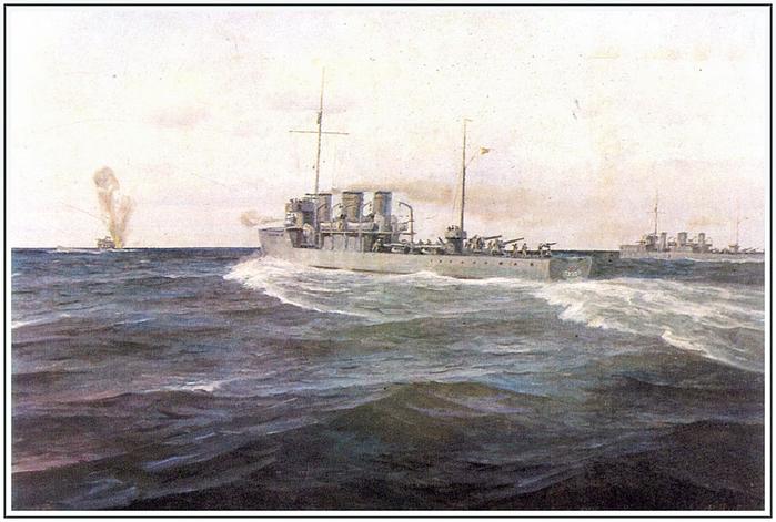 Потопление советскими эсминцами Азард и Гавриил английской подводной лодки L-55 в Копорском заливе.