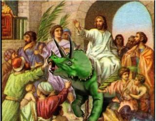 Jesus, leave that dinosaur alone!