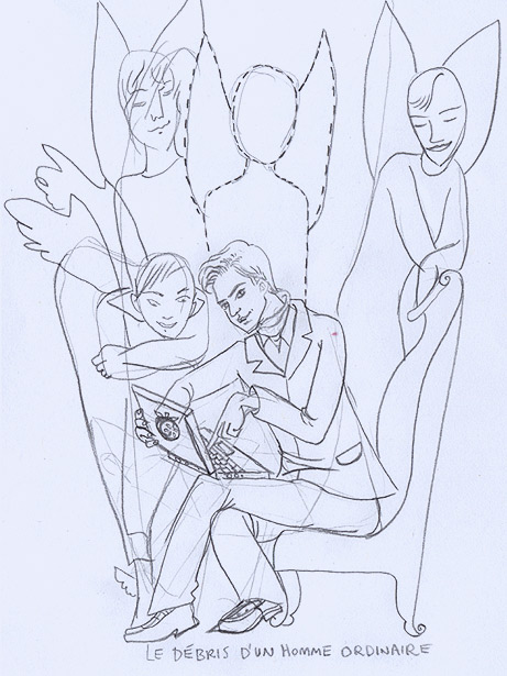 sketch for Dickon's diary angels