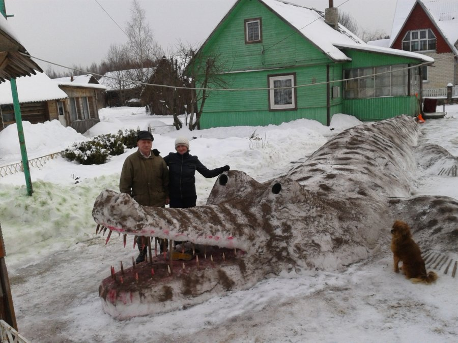 Крокодил из снега stanislovo-vasiliuno-nulipdytas-krokodilas-is-sniego-60758911