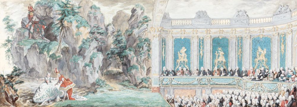 Charles-Nicolas Cochin the Younger Paris 1715 1790 M de Pompadour performing a sc from Acis et Galatee 1749 gouache Sotheby s