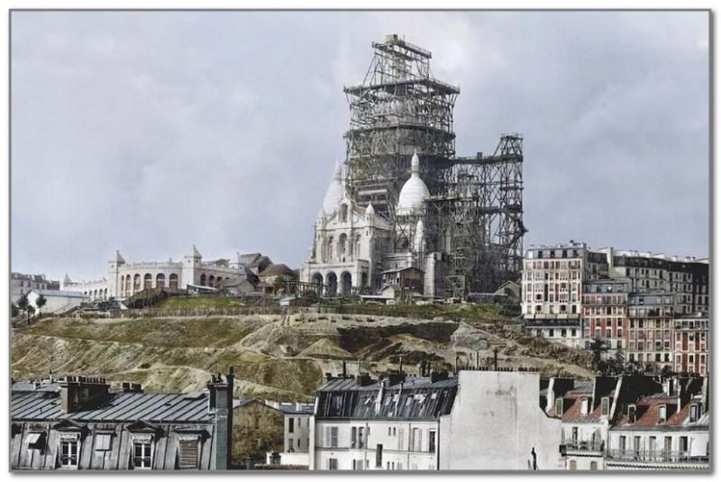 Раскрашенная фотография строительства собора