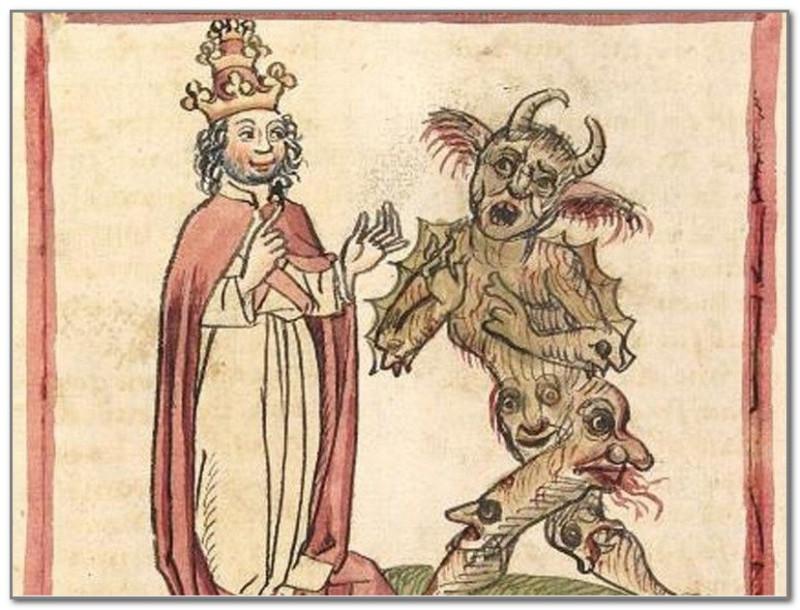 Сильвестр II и дьявол (Средневековая иллюстрация)