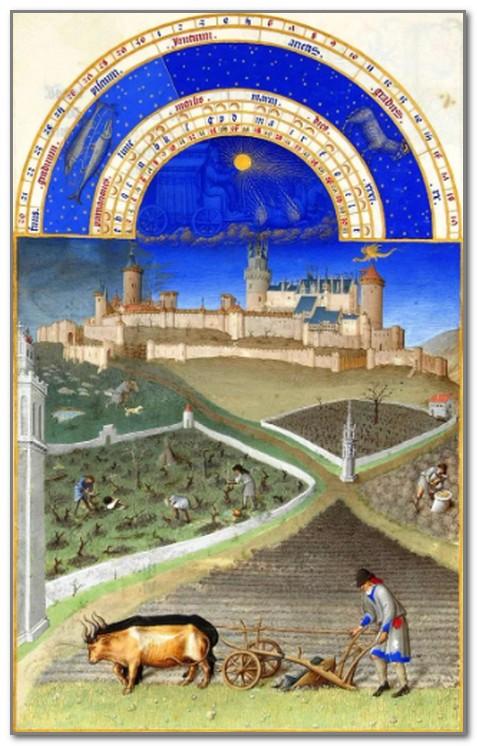 Иллюстрация из знаменитого Часослова братьев Лимбургов. Обратите внимание на дракона над замком