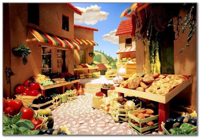 Рынок в Тоскане из итальянских овощей