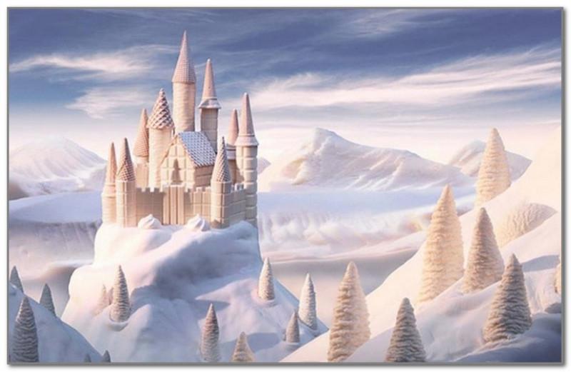 Замок из вафель и белого шоколада