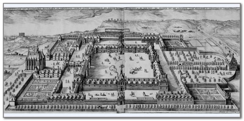 Изображение госпиталя св. Людовика 1609 год. В левом верхнем углу виден Монфокон