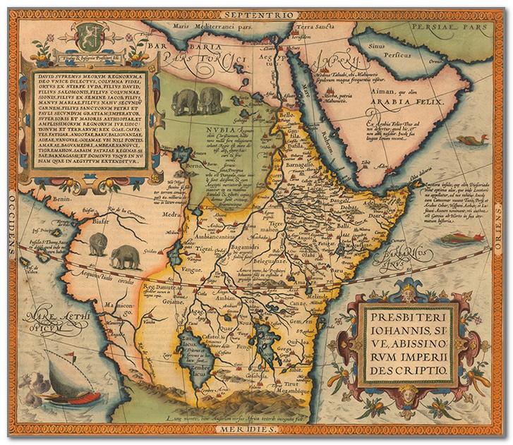 Карта Африки и предположительное расположение Царства пресвитера Иоанна
