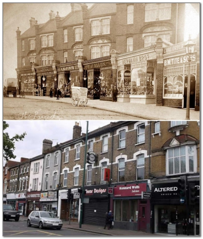 «Парад магазинов» на Hale End Road стараниями современников превратился в обыденный базарный ряд (снимки 1900 г. и 2020 г., Лондон)
