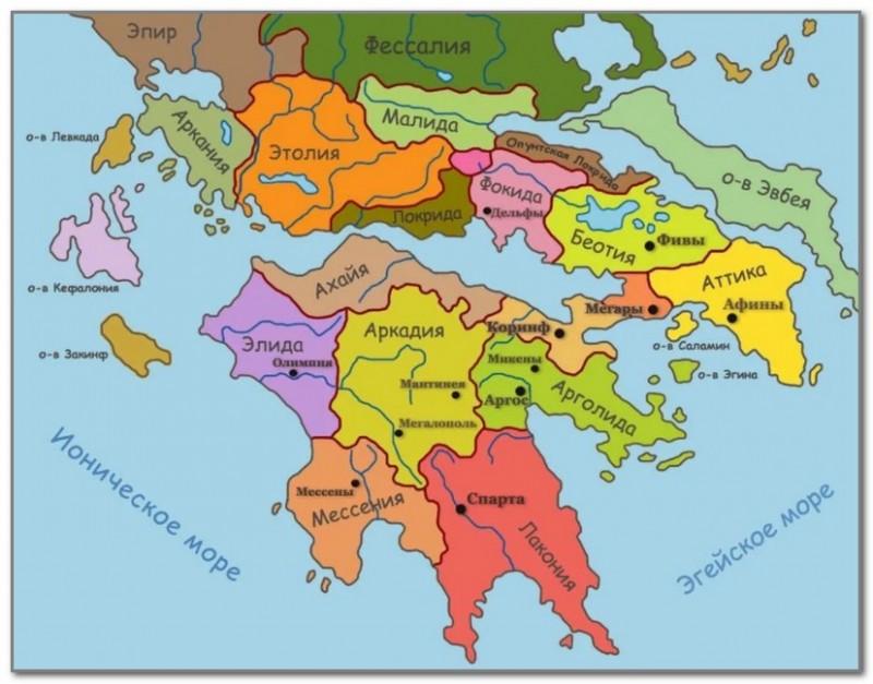 Карта исторических областей Греции