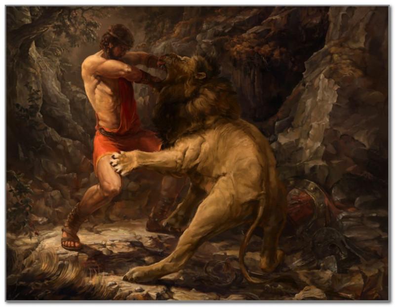 Геракл борется с Киферонским львом