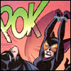The Batman Strikes #13: Catwoman strikes Batman under the chin with her cuffed wrists, making a POK sound effect