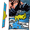 Diana snaps her chains (PTANG!) with the Wonder Woman logo on the left