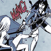 Diana rips a chain from a well-dressed woman's leg with a KLANG!